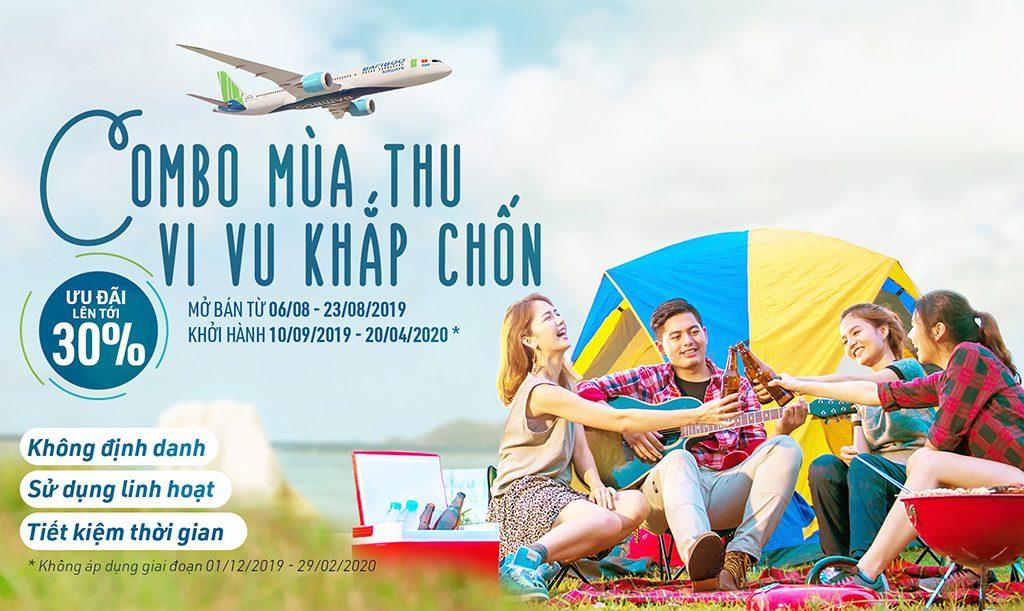 Combo Bamboo Airways: Mùa thu giảm giá 30%